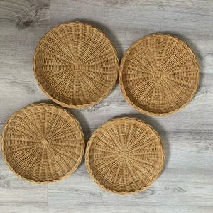 Vintage wall wicker plates set of 4
